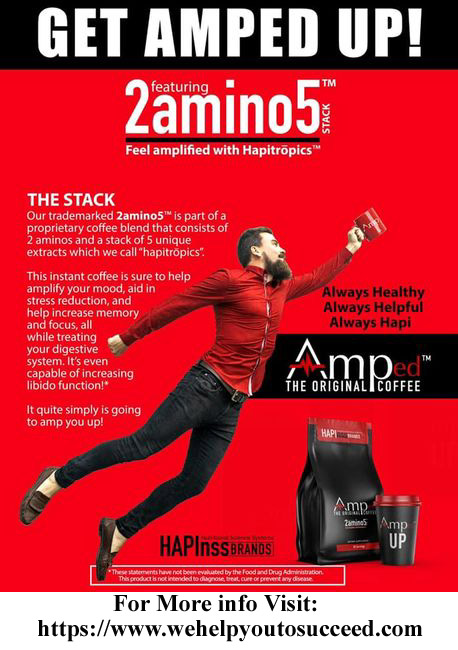 Hapinss Amped Up Coffee with 2amino5 from Happiness Brand